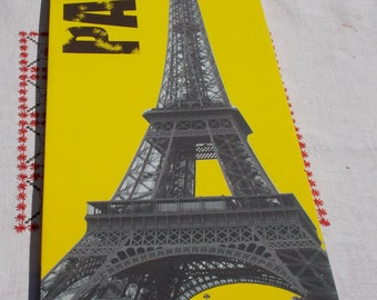 High Quality Print of EIFFEL TOWER on Canvas  Very detailed street scene of Paris France at base of Tower