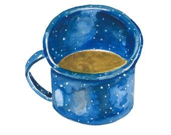 Blue Enamel Mug Campfire Art