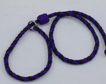 "35"" Braided Paracord slip tab, suppression collar purple/black"