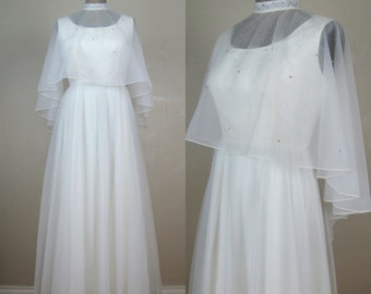 Vintage 1970s White Chiffon Gown 70s Dress with Rhinestone Neckline and Shawl Size 6/8/M