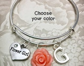 Personalized Flower Girl Bracelet - FGC - Flower Girl Adjustable Bangle, Flower Girl Charm, Flower Charm, Child-Sized Bangle
