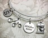 BFB, Personalized Baker Bracelet, Fabulous Baker Bangle, Baker Charm, Baker Gift, Gifts for Baker, Mixer Charm, Measuring Spoon Charms