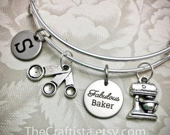 Personalized Baker Bracelet, BB1, Fabulous Baker Bangle, Baker Charm, Baker Gift, Gifts for Baker, Mixer Charm, Measuring Spoon Charms
