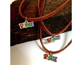 Peace Choker 1970s Peace Charm on a Leather Cord