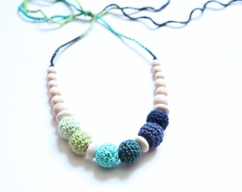 Girls crochet necklace. Children accessory.  Mammy and baby teething necklace.