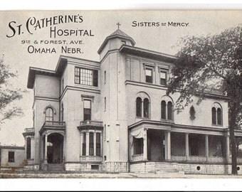 St Catherines Hospital, Omaha Nebraska Postcard, Sisters of Mercy, 9th and Forest Avenue, 1910s Nebraska Advertising Postcard