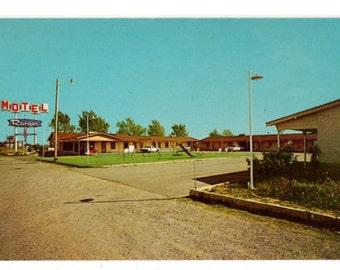 Motel Ranger, El Reno Oklahoma, 1960s Roadside America Postcard, Vintage El Reno OK Post Card, Chrome Post Card, Highway 66 and 81