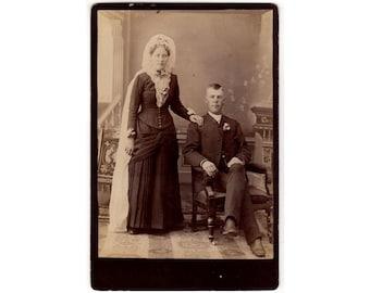 Clay Center Kansas Antique Wedding Photo, Identified as John and Caroline Forslund, Cabinet Card, Lace Collar, Fancy Headpiece, Bride Groom