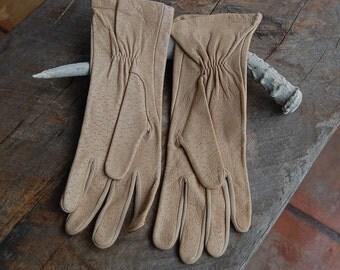 nos Vintage FOWNES DEERSKIN leather ladies womens GLOVES large 37