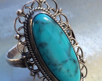 Vintage 1970's turquoise Native American ring