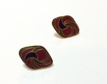 1980s Burgundy Red & Black Disc Earrings