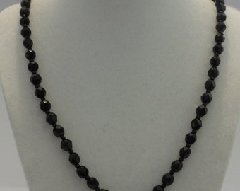 Vintage Round Faceted Black Beads Necklace