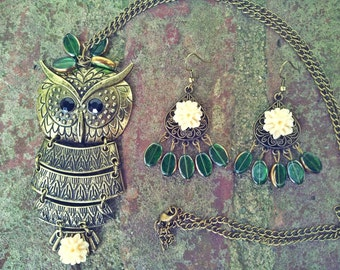 Bohemian Long Owl Necklace Set