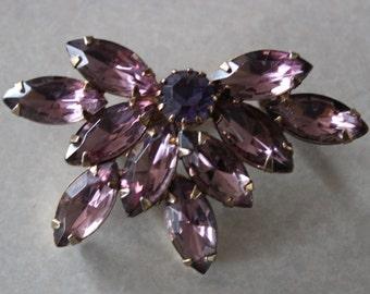 Vintage Purple Rhinestone Brooch Pin