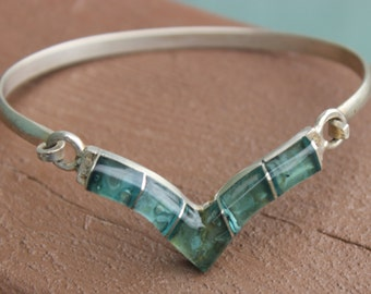 Unique Mexican Sterling Silver Bracelet with Glass STones