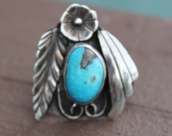 Artist Signed Vintage Native American Pawn Silver Turquoise Ring Size 7