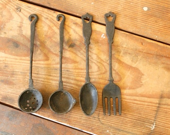 Vintage Cast Iron Kitchen Wall Art Fork Spoon Ladle Strainer Large Utensil Wall Hanging Kitchen Dining Room Display