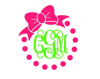 Vinyl Monogram Decal With Bow and Dot Border