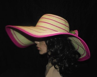 Lively Summer Hat Beige and pink striped wide brimmed with embellishment