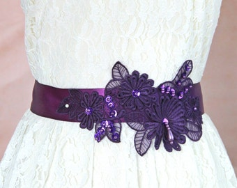 Plum or Dark Purple Beaded Flower Lace Sash, Bridal Plum Lace Sash Belt ,Bridesmaid Sash, Flower Girl Sash // SH-07