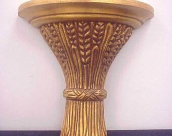 Wheat Sheaf Italian Gold Leaf Wall Sconce/Shelf -  Hollywood Regency Solid Wood Gilt