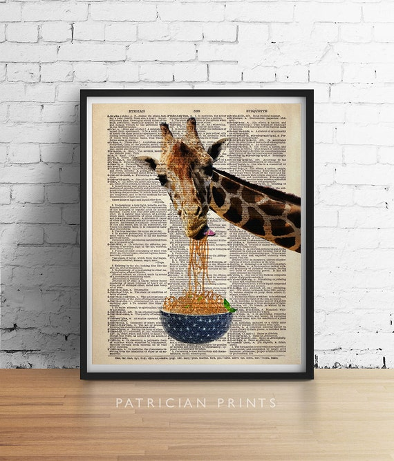 GIRAFFE Art Print Eating Noodles Spaghetti Bowl Funny Animal Illustration Poster Vintage Dictionary Book Page A3 5x7 8x10 ++More Sizes