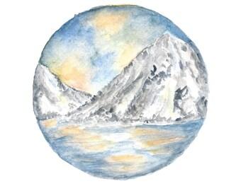 Watercolor landscape painting, original watercolor art, circle landscape painting, boho art, water landscape, circle art, mountain art