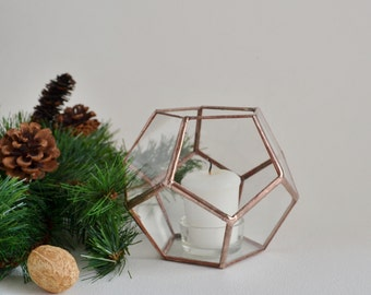Terrarium, stained glass planter geometric 3D shape -dodecahedron shape plant holder. MADE TO ORDER