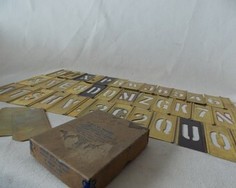 Set of 39 Vintage Brass Adjustable Interlocking Stencils