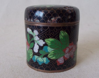 Cloisonne Flower Jewelry box- Jar Canister