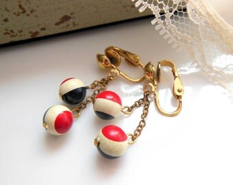 Vintage Red White Blue Stripe Bead American Flag Inspired Dangle Clip Earrings