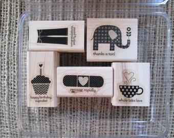 PATTERNED OCCASIONS Wood stamp set -Retired Stampin' Up!