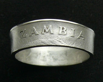 1978 Zambia 10 Ngwee Coin Ring, Ring Size 8 1/2 and Double Sided