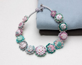 Pastel statement necklace, textile and crochet jewelry, OOAK cotton necklace, blue lilac white
