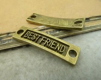 10pcs 35x9mm antique bronze best friend letter charms pendant c5022