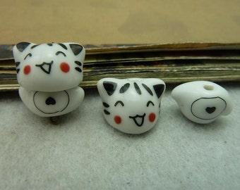 4pairs 10*16-11*17mm ceramic cat  C6293