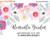 SALE 50% OFF Romantic Garden Hand Painted Watercolor Clipart Clip Art Personal Commercial Use peony ranunculus posy blossom rose pink gold e
