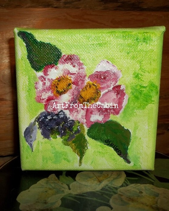 Acrylic flower painting, pink flower painting, canvas painting, 4 x 4 inch, green, pink, raspberry blooms, original art, ArtFromTheCabin