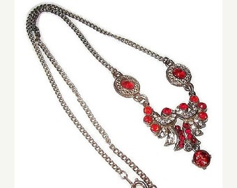 "Czech Bib Necklace Red Rhinestones Silver Cast Metal Art Deco Holidays 18"" Vintage"