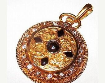 """Pocket Watch Pendant Black & Clear Rhinestones Enamel Gold Metal 2.5"""" Vintage"""