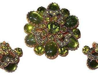 Brooch Earring Set Deep Lime Peridot Rhinestones Heart Designs Gold Metal Layered Vintage