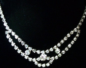 "Rhinestone Bib Necklace Choker Clear Ice Stones Hook Clasp Silver Metal 17"" Vintage"