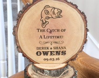 Fishing Wedding Cake Topper, Rustic Wood Topper, Engraved Topper, Fish Cake Topper, Custom Cake Topper, Personalized Topper