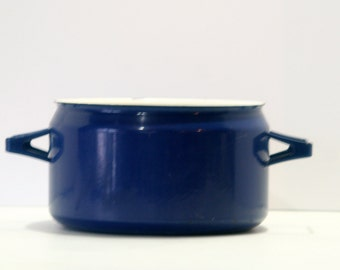 Vintage Cobalt Blue Enamel Finel Seppo Mallat Finland Scandinavian Mid Century Cast Iron Stock Pot Dutch Oven NO LID Stockpot