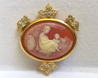 Vintage Piscitelli Mother Child Cameo Brooch Pin