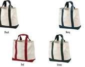 Boat Bag Canvas - Set of 3 - Embroidered - Monogrammed - Tote Bag - Bridesmaid - Teacher Gift - Craft - Dance - Gym - Beach