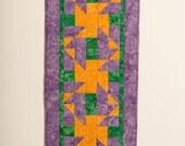 Batik Table Runner, Purple Yellow and Green Table Runner, Centerpiece