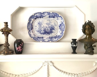 Gorgeous and Very Large 1830's Blue Transferware Porcelain Platter