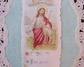 "Lovely Vintage Prayer Card: ""The Good Shepherd"""