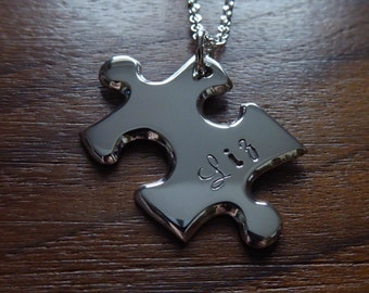 Personalised Silver Puzzle Pendant Necklace 5